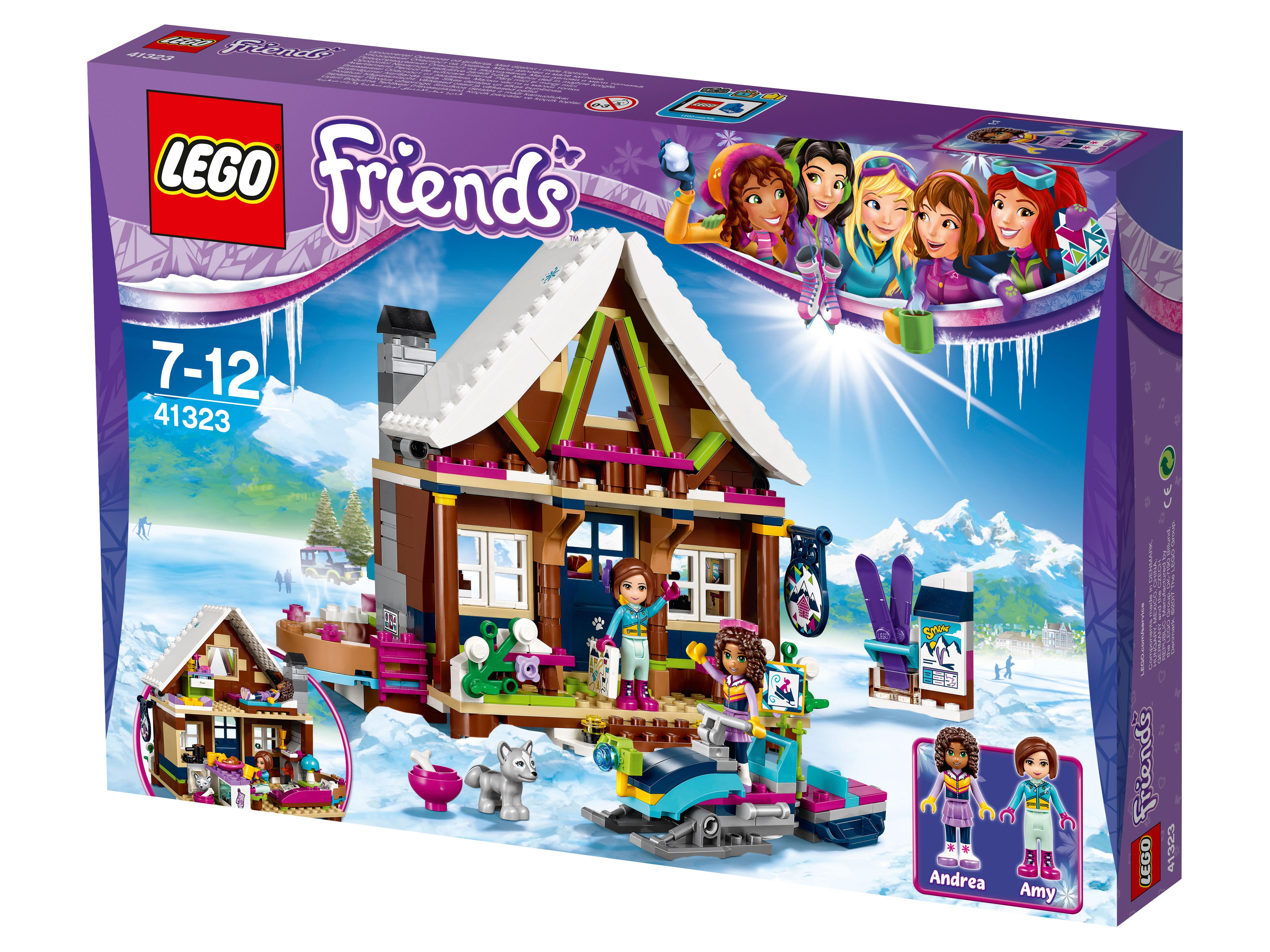 41323 Lego Friends Горнолыжный курорт шалеКак приятно вернуться с горнолыжного катка в уютное шале Лего, где потрескивают дрова в камине и ждет мягкое кресло. Теперь вам будет чем заняться в ближайшие выходные, тем более что Андреа и Эмма давно приглашают в гости. Соберите небольшое шале из 400 деталей и расставьте в нем мебель, чтобы сделать дом еще уютнее и красивее. Во дворе уже стоит новый снегоход — на нм вы легко доберетесь до трассы. Не забудьте покормить щенка, чтобы он не скучал во время вашего отсутствия. Обед для себя и друзей можно приготовить на кухне с видом на горные вершины и трассы. Нужно согреться после возвращения с морозного воздуха? Вас уже ждет горячее джакузи и спальня, где можно легко восстановить силы перед началом нового дня и новых приключений.<br>