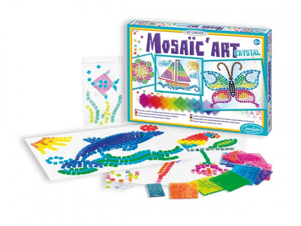 Набор для творчества Мозаика КристаллНабор для творчества включает в себя разнообразные готовые узоры и фигуры, которые ваш ребенок может создавать, знакомясь с искусством мозаики. Комплект также дает возможность изготавливать свои собственные изображения. Благодаря этому ваш ребенок освоит изобразительное искусство, сможет развить ловкость, чувство цвета и стиля.Что внутри набора        Комплект включает в себя набор различных элементов, а также готовые рисунки, которые выполнены на прочной бумаге, устойчивой к случайным повреждениям.Заказ и доставка                Вы сможете приобрести набор для творчества, обратившись в один из наших магазинов, которые находятся в Москве или Санкт-Петербурге. Если вы являетесь жителем любого другого региона страны, вы сможете оформить услугу доставки, которую можно оплатить при помощи наложенного платежа.<br>