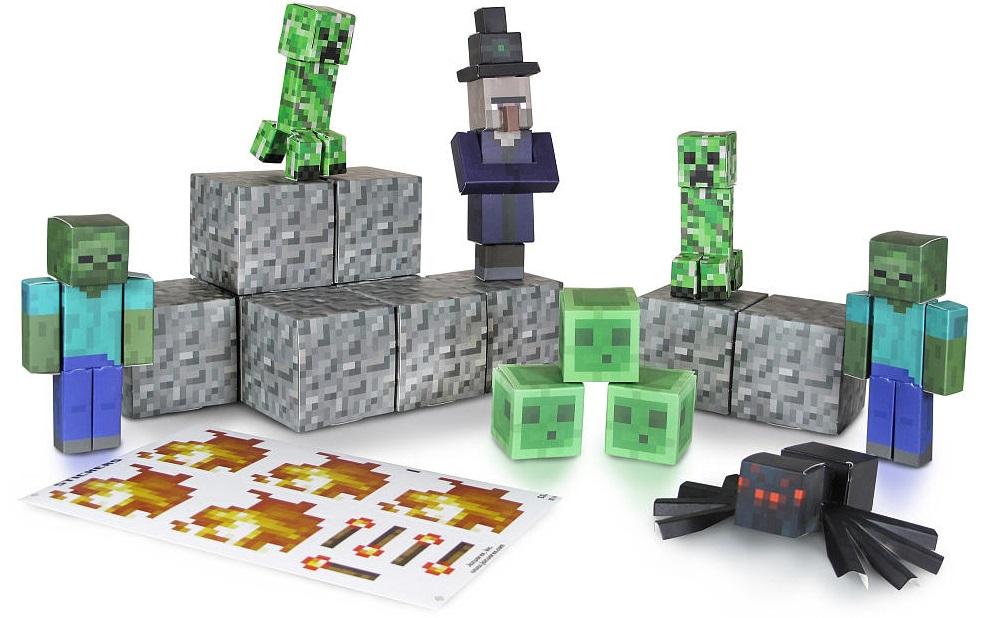 Бумажный конструктор Minecraft Redstone - Игровой мир Враждебные мобы 30 деталей