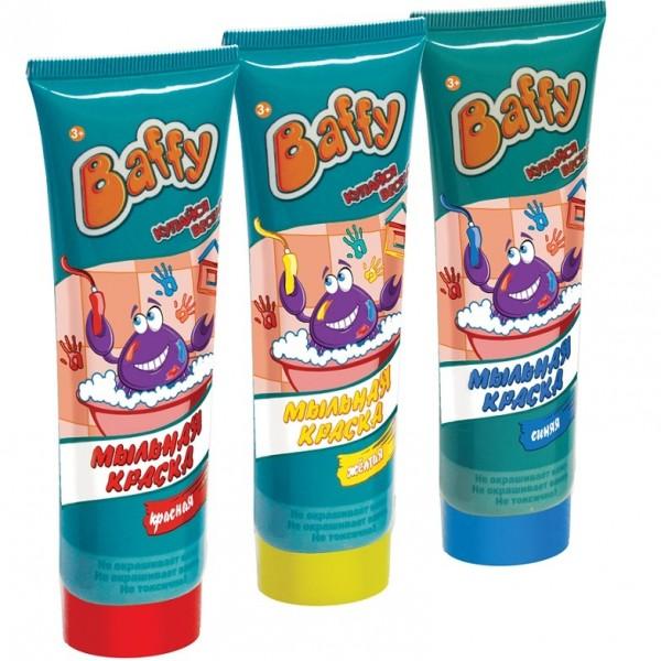 Мыльная краска Baffy для ванныКупание в ванне превратится в увлекательную и творческую игру с помощью ярких красок!Мыльными красками можно рисовать прямо в ванной!Нанесите краски на кожу, рисуйте на кафельной поверхности или самой ванне.Благодаря специальному мыльному составу, красками можно не только рисовать, но и мыться.Легко смывается водой.Не окрашивает кожу и ванну.ВНИМАНИЕ! Товар в ассортименте, вариант в поставке не гарантирован!<br>