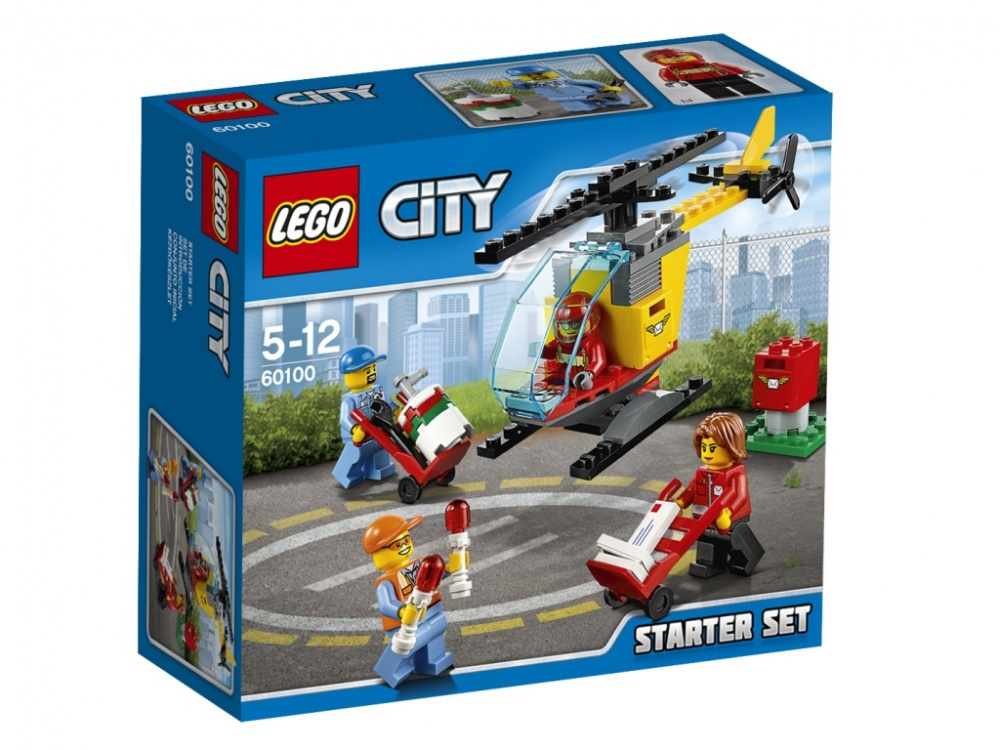 Конструктор Lego City Набор для начинающих АэропортСтань частью команды, выполняющей очень важную работу! Помоги работникам почты разгрузить почтовые ящики и отправить почту на вертолёте. Загрузи контейнеры на борт, а затем помоги пилоту попасть в кабину. Заполни бак топливом из бочки и помести вертолёт на взлетно-посадочную полосу с направляющими огнями. Организуй успешную доставку почты в LEGO City!<br>
