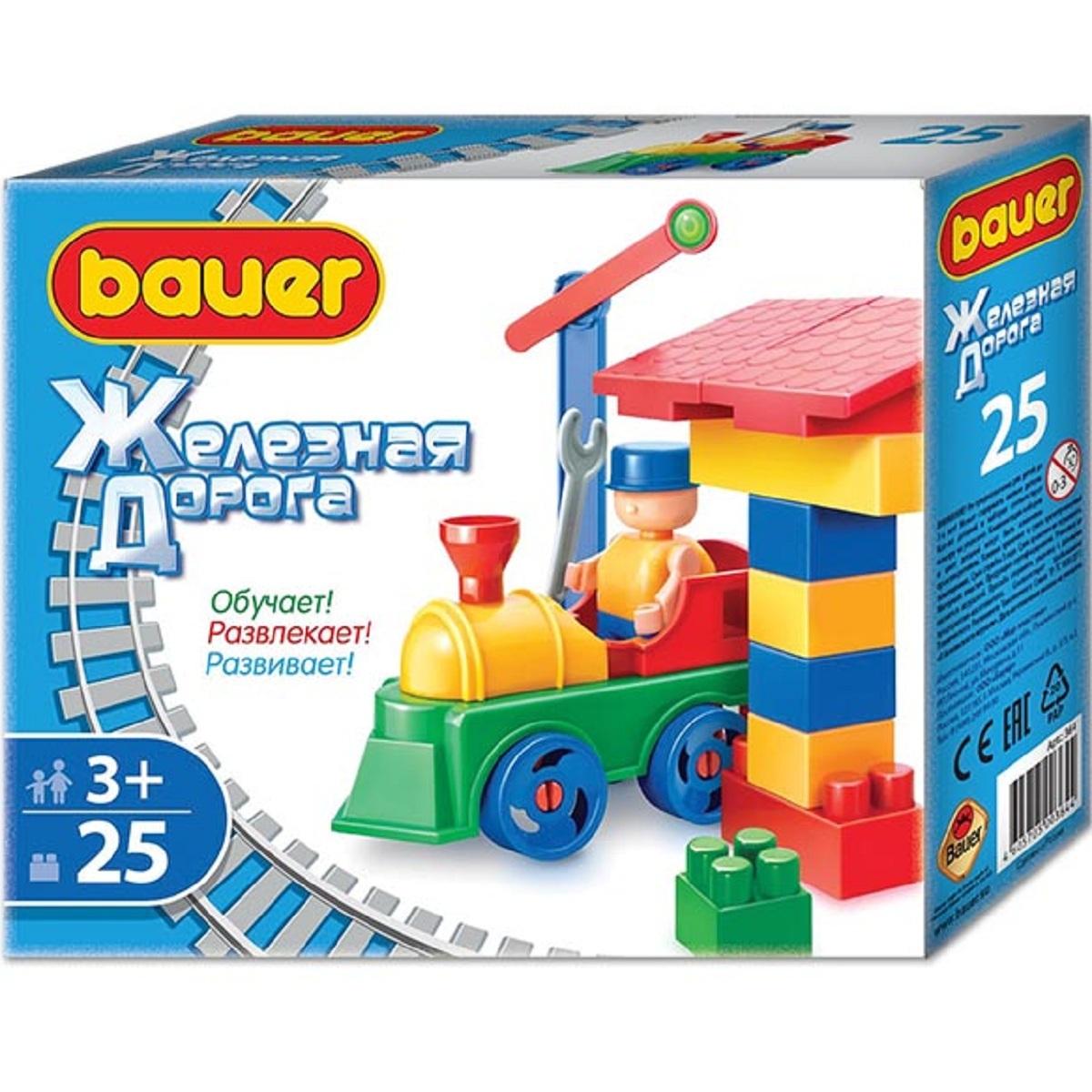 364 Конструктор Bauer серии Железная дорога 25 эл. (в коробке)Конструктор Bauer 364 серии Железная дорога 25 элем (в коробке)Все дети любят строить железную дорогу. А с конструктором «Bauer Железная дорога» это еще интереснее и веселее! Ведь вместе с железной дорогой малыши будут строить свою историю, с забавными персонажами, для которых можно придумать множество приключений и отправить в любые путешествия в их поездах!<br>