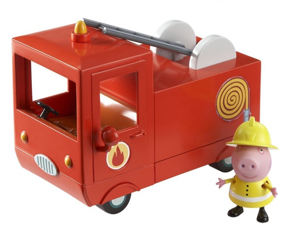 Игровой набор Peppa Pig Пожарная машина Пеппы с фигуркойПожарная машина Свинки Пеппы - настоящая спецтехника! У нее открываются двери, внутри имеются места для двух пассажиров. Лестница на крыше машинки раздвигается, а корпус игрушки украшен декоративными элементами. Пеппа одета в желтую форму заправского пожарника: каску и плащ.Машинка выглядит точно как в мультфильме, а игровой набор понравится и мальчикам, и девочкам. Все элементы набора изготовлены из высококачественного пластика, свинка и ее автомобиль красочные и веселые. С этим набором можно придумать множество сюжетных игр с персонажами мультфильма Свинка Пеппа и другими игрушками.Возраст: от 3 летГерой: Свинка Пеппа / Peppa PigДля мальчиков и девочекЦвет: красный, желтый, розовый.Комплектация: пожарная машина, фигурка Свинки Пеппы.Материалы: пластик.Размер упаковки: 20 х 13 х 14 см.Размер машины: 14 х 9.5 х 7 см.Высота фигурки: 5.5 см.<br>