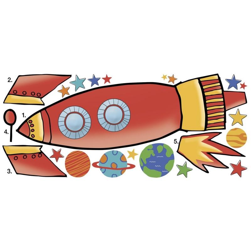 Наклеки для декора Ракета, большой форматНаклейки для декора в виде большой ракеты помогут придать оригинальности интерьеру детской комнаты. Представленная модель состоит из нескольких детализированных элементов, благодаря чему ребенок может сам принять участие в оформлении, проявив самостоятельность и оригинальность.Надежность материаловНаклейки изготавливаются с применением прочной бумаги, которая не боится случайных повреждений. Благодаря специальному защитному составу исключается вероятность выцветания, а также обеспечивается устойчивость к влаге и другим негативным воздействиям.Как купить наклейки?Приобрести их вы можете в одном из наших магазинов в Москве или Санкт-Петербурге. Благодаря быстрой доставке, жители других регионов страны могут сделать заказ через сайт.<br>