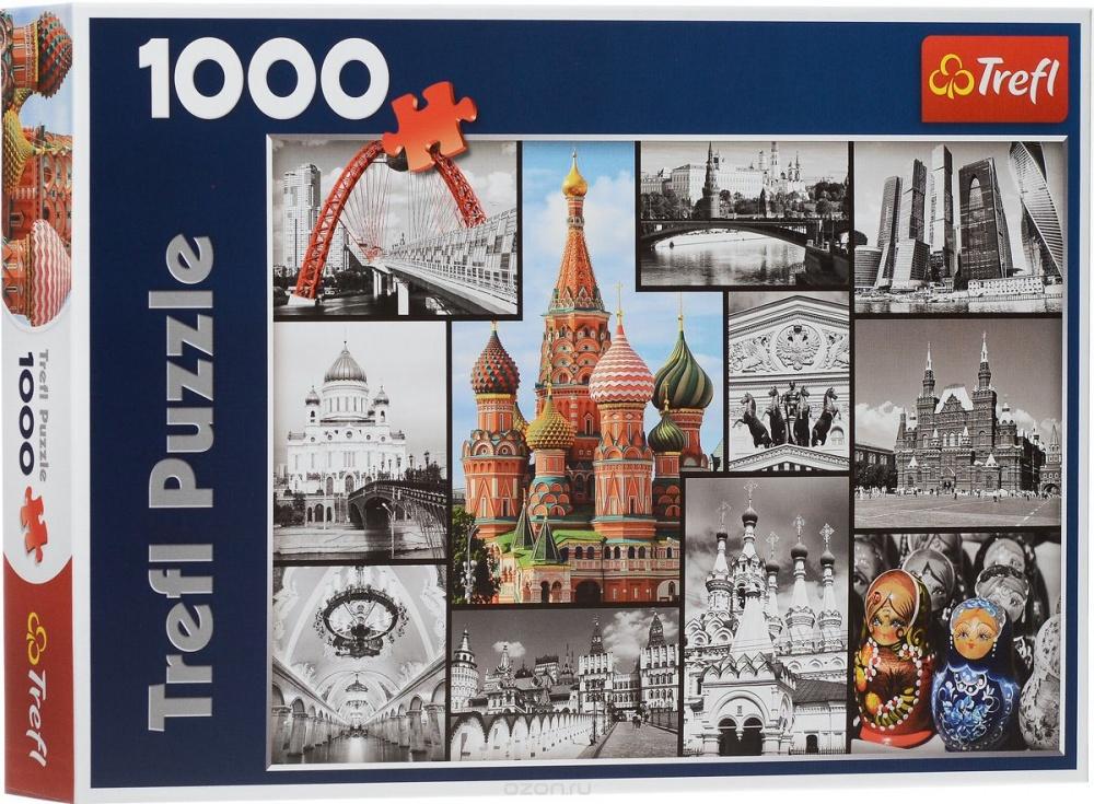 Пазл Москва коллаж, 1000 деталейПазл «Москва-коллаж» позволяет собрать необычную картинку,изображающую несколько столичных достопримечательностей. Оригинальность дизайна заключается в том, что часть изображения выполнена в черно-белом варианте, а часть — в цветном. Каждая картинка, входящая в данный коллаж, помещена в тонкую черную рамочку. Набор изготовлен из высококачественного прессованного картона, отличающегося прочностью. Элементы пазла прекрасно подогнаны друг к другу, поэтому собирается он без особого труда.<br>