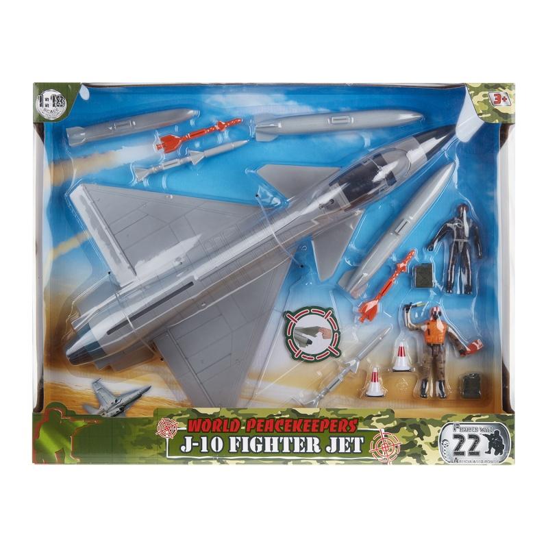 """Набор истребитель j-10 и 2 фигуры солдат 9,5 см.Игрушка набор """"Истребитель j-10 и 2 фигуры солдата 9,5 см"""" понравится мальчикам, которые любят авиамоделирование и военную авиацию. Истребитель выполнен в масштабе 1:18 и выглядит очень реалистично. Такие аксессуары как ракеты и бомбы дополняют общий образ. Игрушка используется не только для игры. Истребитель также понравится коллекционерам и станет достойным экземпляром собрания на тему авиации.Качественные игрушки для детейСоставляющие игрового набора изготовлены из надежного ударопрочного пластика - нетоксичного и безопасного для здоровья ребенка материала. Поверхности и края элементов тщательно отшлифованы, не содержат трещин, сколов и зазубрин. Для окрашивания использован стойкий современный краситель, поэтому цвет не тускнеет, а краска не растрескивается. Благодаря компактным размерам малыш может брать истребитель с собой на прогулку, в детский садик или в гости к другу. Многие родители оставляют об игровом наборе только положительные отзывы. Играя, мальчик развивает внимание, учится логическому мышлению, тренирует пространственную координацию и стимулирует воображение. Заказать и купить игрушку набор """"Истребитель j-10 и 2 фигуры солдата"""" можно в магазине Hamleys. Вас приятно удивят доступная цена и высокий уровень обслуживания.<br>"""