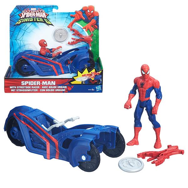 ЧП ФИГУРКИ 15 СМ НА ТРАНСПНабор B5760 Spider-man Фигурки Марвел на транспортном средстве высотой 15 сантиметров, который можно  в нашем интернет-магазине игрушек по привлекательной цене.В набор входит фигурка персонажа из вселенной Марвел Спайдермен высотой 15 сантиметров с несколькими точками артикуляции, а также транспортное средство (мотоцикл или трицикл) с пушкой, стреляющей специальными дисками. Детализация фигурок проработана на хорошем уровне: видны отдельные элементы костюмов и качественно нанесенные эмблемы.Колеса транспортных средств вращаются, поэтому детям так нравится катать их и разыгрывать сцены из любимых мультсериалов.В ассортименте представлены Человек-паук и Веном.<br>