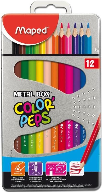 Карандаши цветные Maped Color Peps, 12 цветовНабор цветных карандашей Maped ColorPeps, 12 штук. Яркие, насыщенные цвета, трехгранная форма для удобного захвата, прочный, легко затачиваемый корпус из древесины американской липы. Ударопрочный и одновременно мягкий грифель, диаметр 2,8 мм. Металлическая коробка обеспечивает удобство хранения и переноса, и может использоваться как пенал для хранения любых стандартных карандашей в дальнейшем.<br>