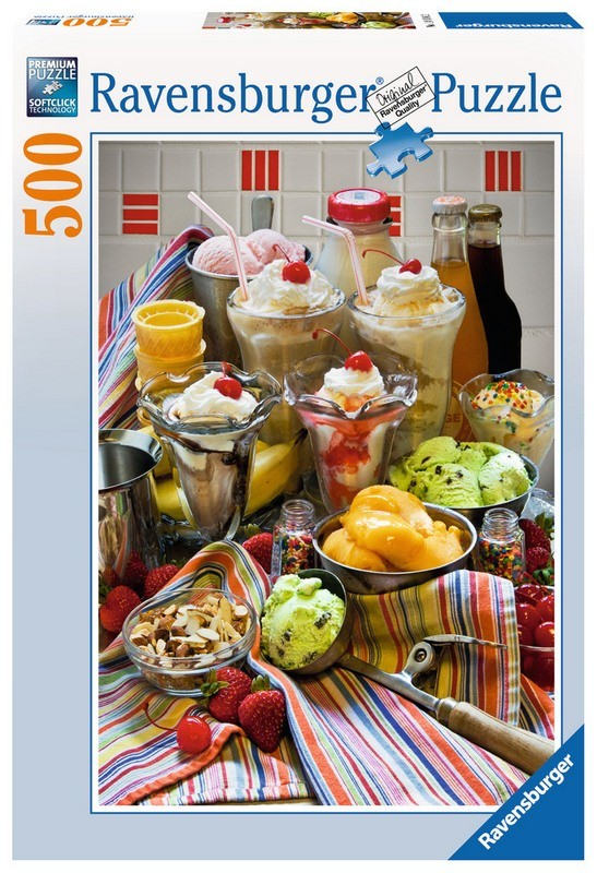 Пазл Просто Дессерты 500 Шт Ravensburger 14114Пазл состоит из 500 кусочков качественного картона фирмы Ravensburger. Все части отлично стыкуются между собой. Занятие пазлом улучшает память и развивает внимание. На рисунке изображены различные десерты — мороженное, коктейль, ягоды, конфетки и напитки. По мере собирания пазла, возможен приход аппетита и желания что-нибудь приготовить.<br>