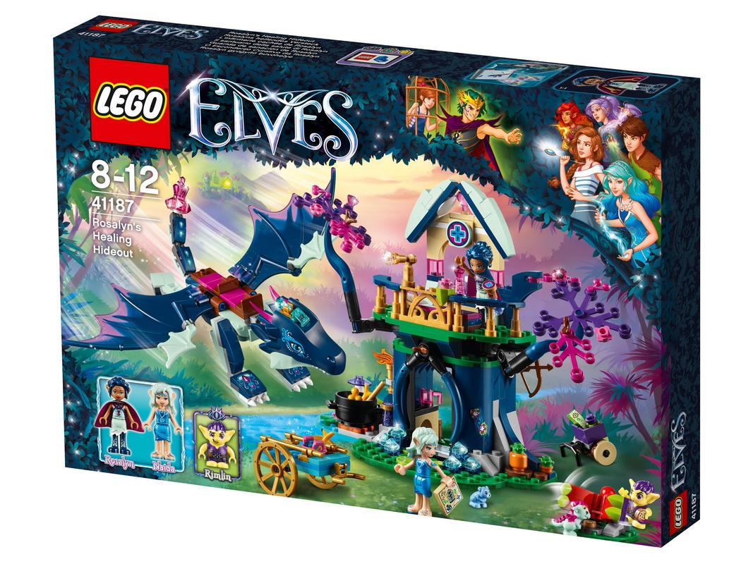 Конструктор Lego Elves Тайная лечебница РозалинОсторожно, злой гоблин хочет схватить дракончика Лулу! Поспеши ей на помощь вместе с Розалин и драконом-мамой Сапфир и верни её в тайную лечебницу Розалин. Отодвинь ветки, чтобы взобраться на второй этаж, где ты сможешь приготовить лекарство для Лулы, пока Розалин пытается превратить Римлина в доброго гоблина. Затем отправляйся в крепость Короля гоблинов и помоги эльфам спасти Софи Джонс!<br>