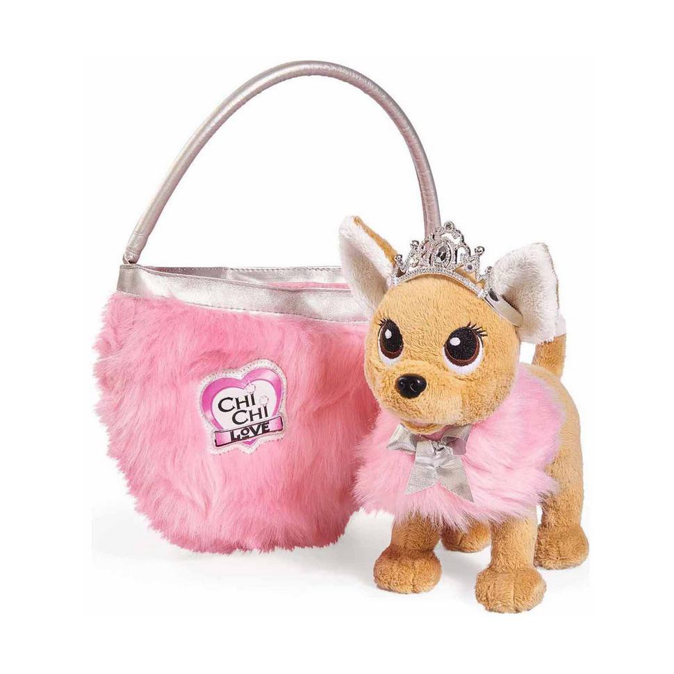 Плюшевая собачка Chi-Chi love Принцесса, с пушистой сумкой, 20смЧудная мягкая игрушка Собачка Чи Чи Лав восхищает взгляды своим милейшим внешним видом и принадлежностью к королевской династии, ведь она настоящая принцесса и носит на голове изящную корону, а на ее плечи накинуто розовое манто с бантиком. Для удобной переноски собачки предусмотрена стильная сумочка, которая идеально сочетается с ее манто, внутри она вместительная и в ней можно хранить все дополнительные аксессуары.Собачка очень мягкая и приятная на ощупь, она выполнена из высококачественных гипоаллергенных материалов. У игрушки есть одна отличительная особенность - гнущиеся лапки, благодаря которым принцесса может принимать различные положения, что сделает игры с ней еще интересней.<br>