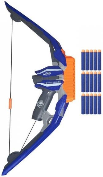 Nerf Бластер Мега лукЛук имеет синий корпус, украшенный различными надписями с удобной для детской руки рукояткой.На корпусе расположена оранжевая обойма, в которую можно зарядить сразу 5 стрел.Стрелы яркого цвета, поэтому при промахе по стрельбе по мишеням не смогут потеряться.На концах стрел находятся мягкие наконечники, которые смягчают удары.Спусковой курок имеет удобную форму, срабатывает при лёгком нажатии на него.<br>