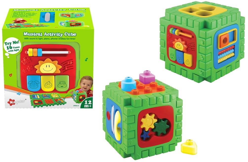 Музыкальный Активити Куб - матЧем увлечь активного малыша, чтобы он не скучал и в то же время развивался? На помощь приходит Musical Activity Cube. Вы сможете увлечь им ребенка надолго без всяких усилий. Об игрушке. Игрушка представляет собой необычный кубик, с каждой стороны (всего их 6) имеется панель с различными кнопками, выпуклостями, дырочками, шнурками и забавными шестеренками. Малыш сможет развивать мелкую моторику рук и пальчиков за счет мелких деталей, которые нужно вставить на место, оттянуть или покрутить. Изучать формы и цвета станет намного интереснее с такой игрушкой. Игрушка отлично развивает внимание, усидчивость, творческое мышление и логику. 16 обучающих простых мелодий помогут увлечь ребенка, ведь детям нравится нажимать кнопки и смотреть, откуда же возникают звуки. Годовалому малышу уже под силу будет нажимать клавиши и отыскивать фигуры по форме, чтобы вставить в дырочку. Восторг от общения с музыкальным кубом обеспечен! Красочная форма игрушки поднимает настроение. Упакован куб в яркую коробку. Отличная идея для подарка на день рождения малыша и любой другой праздник. Заказать игрушку с доставкой курьером можно на сайте магазина Hamelyes. Сроки и стоимость доставки уточняйте на сайте.<br>