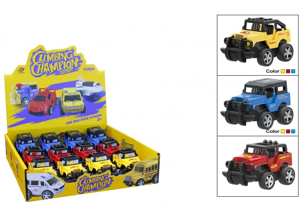 Инерционная машина-джип СафариИнерционная машина-джип Сафари. Цвет: синий, желтый, красный. Возможна отгрузка в дисплеях по 12 шт, 3 вида в ассортименте.<br>