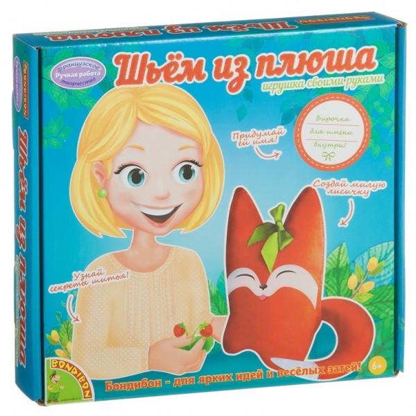 Шьем из плюша Bondibon ЛИСИЧКА шьем из плюша игрушка своими руками динозаврик набор для творчества досуг с буки bondibon