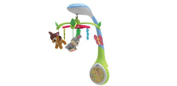Игрушка-проектор для кроватки БэмбиБлагодаря героям всеми любимого анимационного фильма Disney, игрушка-проектор создает чарующую атмосферу, помогающую малышу расслабиться и сладко заснуть!Вы можете выбрать 3 функции, которые можно включать как по отдельности, так и в понравившейся комбинации.3 функции:1) Вращение: 3 мягкие подвесные игрушки, изображающие героев анимационного фильма Disney «Бемби», вращаются над кроваткой малыша, погружая его атмосферу волшебного мира Disney.2) Проекция: изображение олененка Бемби проецируется на потолок в 3 различных цветах: желтом, зеленом и голубом.3) Музыка: 7 нежных чарующих мелодий, длящихся не более 15 минут, создадут приятную атмосферу, помогая ребенку уснутьДополнительные характеристики:Размеры: 32  x 40 x 42 смДопускается стирка мягких тканевых игрушек-подвесок в стиральной машине при 30 °<br>