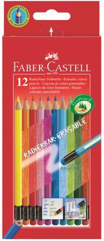Цветные карандаши COLOUR PENCILS с ластиками,с местом для имени, набор цветов, в картонной коробке,