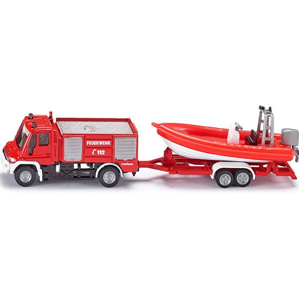 Пожарная машина с катером тягач siku с катером на прицепе 1 87 красный 1613