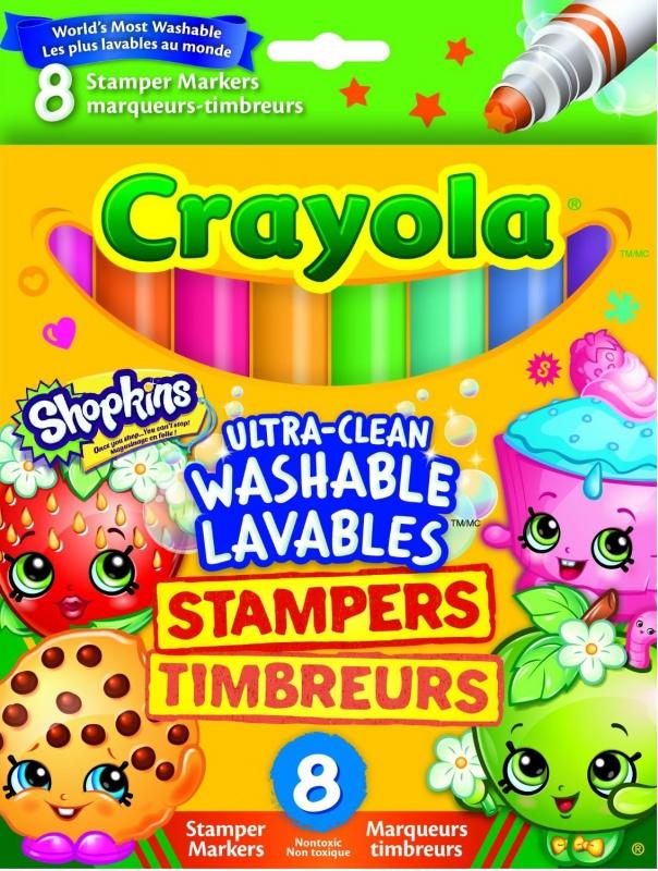 Набор из 8 смываемых фломастеров-штампиков Crayola ШопкинсНабор смываемых фломастеров-штампиков Шопкинс - веселое средство для разнообразия рисунка или для создания маленькой и веселой игрушечной татуировки, которое легко смоется. Благодаря данному набору фломастеров-штампиков, можно создать интересный и необычный фон на картинке или заштамповать приятеля или друга, что будет очень весело, а главное, безопасно и, после игры, можно легко смыть все краски.<br>