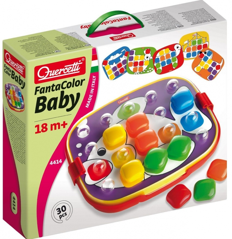 Мозаика Quercetti Фантастические цвета, в чемоданчике Беби-XL, 24 зл. quercetti бегущие шарики