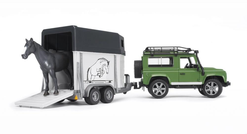 Игровой набор Внедорожник Land Rover Defender с прицепом-коневозкой и лошадью, 1:16 игрушка bruder land rover defender внедорожник с прицепом коневозкой и лошадью 02 592