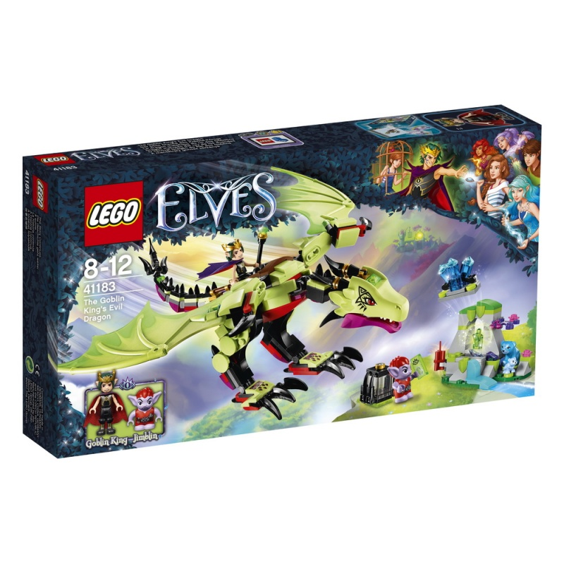Конструктор Lego Elves Дракон Короля ГоблиновНа спине дракона Пеплокрыла, который управляется силой мысли, взмывай в небо вместе с Королём Гоблинов, отправившимся на охоту за кристаллами для укрепления своего портала! Поймай медведицу Блубери, которая вместе с Малышом Блу нашла пустую пещеру, в когти дракона, а потом скомандуй, чтобы гоблин Джимблин взорвал часть пещеры при помощи динамита. Там ты обнаружишь необыкновенный кристалл. Положи кристалл в клетку на спине Пеплокрыла и лети обратно в крепость Короля Гоблинов!<br>