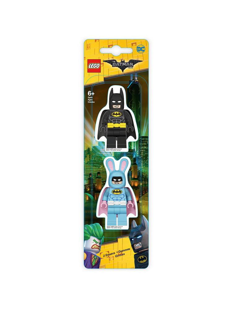 Набор ластиков (2 шт.) LEGO Batman Movie (Лего Фильм Бэтмен)- Batman/Easter Bunny Batman (51757)Набор ластиков (2 шт.) LEGO Batman Movie (Лего Фильм Бэтмен) - это необходимый предмет канцелярии для школьника младших классов.  Ластики выполнены в форме любимых героев из мультфильма Бэтмен, поэтому привлекут ребенка своим внешним видом. Малыш точно никогда не забудет взять такие ластики в школу.Ластик выполнен из современного качественного материала, поэтому эффективно стирает графитовые линии и рисунки, не протирает и не царапает бумагу. На переменках с ластиками можно устраивать игры, придумывая новые сюжеты для полюбившихся персонажей.Набор из ластиков можно приобрести по выгодной цене в магазине Hamleys или заказать доставку в свой город на сайте магазина.<br>