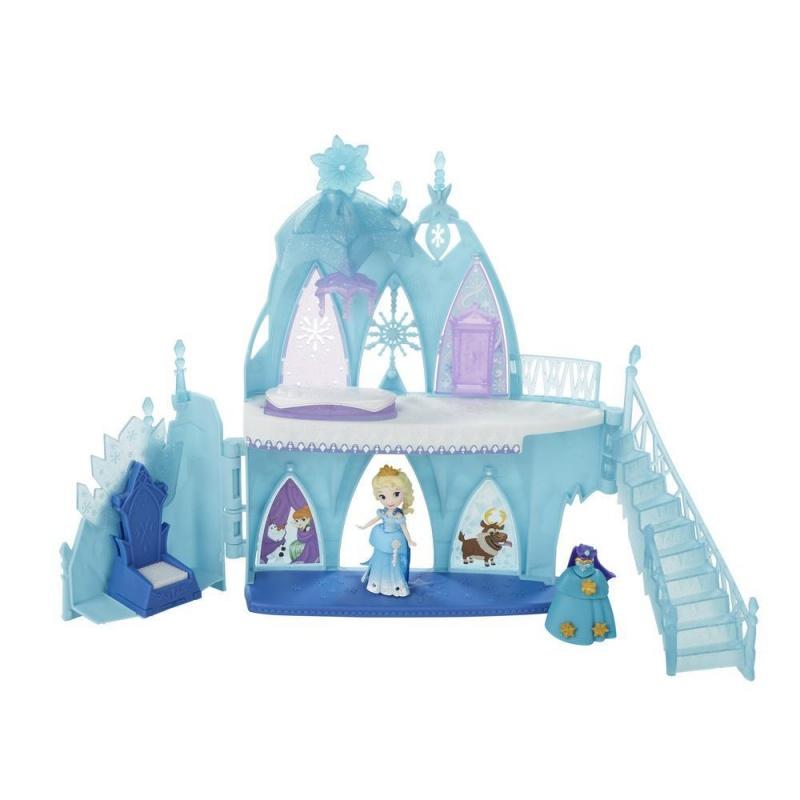 Disney Холодное сердце: Маленькое королевство. Ледяной замок ЭльзыВашей маленькой мечтательнице понравится вместе с Эльзой открывать все волшебные уголки её Ледяного замка!  Поднимите пол - и найдёте кровать, поднимите портьеру - и вот они, любимые друзья Эльзы: Анна и Олаф, прямо на стене.  Нажмите на сидение трона - и, как по волшебству, из спинки появятся кристаллы! Девочки также смогут менять внешность Эльзы!  В комплекте 2 наряда из мультфильма: великолепное платье Снежной Королевы и платье для Коронации: всего 2 корсета, 2 юбки, 2 баски и 2 плаща. Вашей маленькой мечтательнице понравится дополнять внешний вид своей героини украшениями и нарядами (продаются отдельно).•Содержит игровой набор, куклу, 2 корсета, 2 баски, 2 юбки, 2 плаща и 4 украшения.• Кукла 6,35 см. в высоту и может сидеть и стоять• Содержит хранилище для укращений• Комбинируй украшения, чтобы получить уникальный вид• ВНИМАНИЕ: ОПАСНОСТЬ УДУШЬЯ - Мелкие детали. Не давать детям до 3 лет.• Для детей старше 4 лет<br>