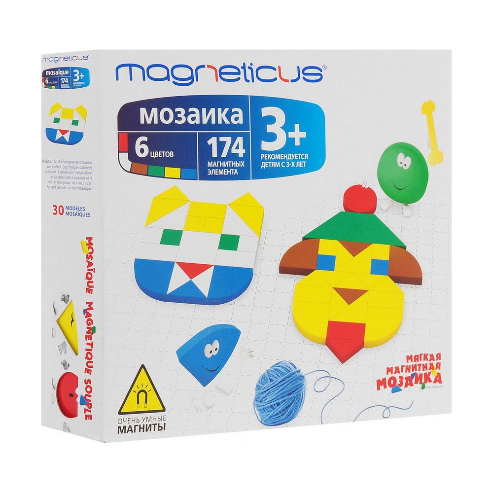 Мозаика 3+, 174 элемента / 6 цветов / 30 этюдовМозаика Magneticus 30 этюдов специально разработана для детей с 3-х летнего возраста.Мозаичные элементы выполнены из безопасного, эластичного, приятного на ощупь полимерного материала на магнитной основе. В набор входят 174 больших и маленьких простейших геометрических фигур красного, зеленого, желтого, синего и белого цветов, которые позволят создавать чудесные образы. Также в наборе игровое поле в рамке и буклет с 30 примерами мозаичных картинок.Мозаика легко крепится к холодильнику. Работа с мозаикой развивает мелкую моторику - согласованные движения пальцев рук ребенка. А ведь именно от степени сформированности движений кисти и пальцев рук зависит уровень развития речи. Мозаика помогает выработать чувство координации и укрепляет зрительную память ребенка.<br>