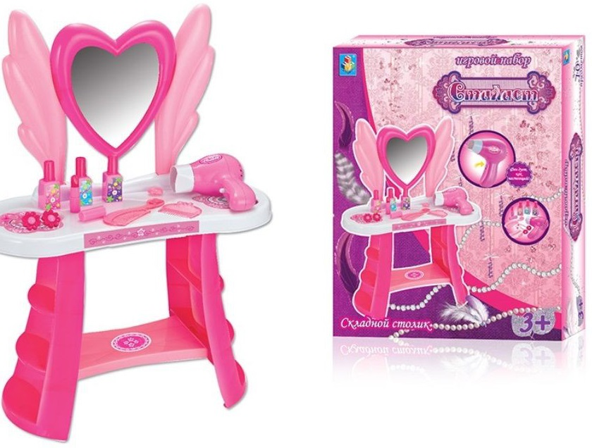 Игровой набор стилиста Большое сердцеЗамечательный набор Сердце от торговой марки 1 Toy - это комплект принадлежностей, которые позволят девочкам организовать у себя в игровой комнате настоящий салон красоты. В наборе есть все предметы, необходимые каждому стилисту - это фен, который дует как настоящий, небольшой столик с зеркальцем, а также различные косметические средства. С таким набором у девочек появится свой личный уголок красоты, где они будут воображать себя модницами, придумывая различные стильные прически.<br>