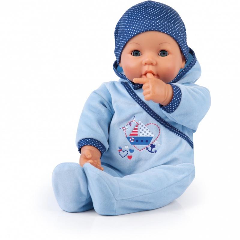 Кукла Привет малыш, 46 см.Эта кукла приглашает Вас обниматься. 46 см, глаза открываются-закрываются. Если дать ей бутылочку, она с радостью чмокает и двигает губами, как настоящий ребенок. Она закрывает глаза, когда спит. Когда вы касаетесь ее животика, она весело смеется. Она одета в симпатичный голубой комбинезон с подходящей по цвету шапочкой. Упаковка: коробка. Батарейки входят в комплект.<br>
