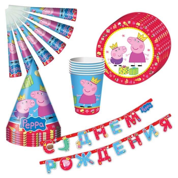 Набор посуды 25 предметов Пеппа-принцессаС набором Пеппа-принцесса ТМ Свинка Пеппа день рождения ребенка станет по-настоящему незабываемым! Красочный дизайн с веселой свинкой поднимет настроение всем: и детям, и даже взрослым. Гирлянда преобразит помещение, колпачки и дудочки помогут организовать множество увлекательных игр. А красивая посуда ярко украсит стол и принесет практическую пользу: одноразовые тарелки и стаканы почти невесомы, не могут разбиться, их не надо мыть. Сделанная из бумаги, такая посуда абсолютно безопасна и, благодаря специальному покрытию, прекрасно удерживает еду и напитки. В наборе 25 предметов на 6 персон: 6 тарелок диаметром 23 см, 6 стаканов объемом 210 мл, 6 бумажных колпачков на резинках, 6 бумажных дудочек, 1 бумажная гирлянда с надписью С Днем Рождения длиной 2,5 м.<br>