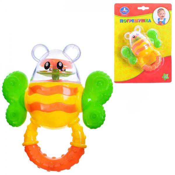 Детская погремушка ШмельСимпатичная погремушка в форме шмеля выполнена из качественного прочного пластика и оборудована специальной удобной ручкой для захвата детской ладошкой. Внутри игрушечного насекомого расположен гремящий элемент, создающий приятный шум, привлекающий внимание малыша. Игрушка предназначена для детей от трех месяцев, когда они уже умеют хватать предметы и удерживать их в кулачке. Яркие выразительные цвета и простые линии специально рассчитаны на малышей.<br>