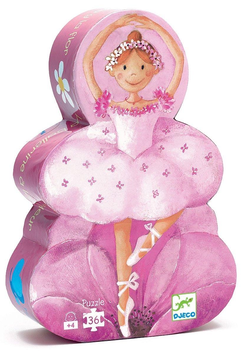 Пазл Балерина с цветамиПазл для малышей Djeco Балерина с цветами - это изящная девочка-балерина, которая покажет малышу свое мастерство. А теперь ребенок пусть спросит у родителей, почему танцовщица одета именно так, а не иначе. Зачем применяется балетная пачка, пуанты? Почему балерина должна правильно и своевременно кушать, чтобы всегда иметь силы кружиться в танце, радуя всех своим умением?Это поистине увлекательное занятие способствует развитию логического мышления, памяти, тренирует мелкую моторику, внимательность. Таким образом, занимательная игра превращается в полезное, развивающее занятие.<br>