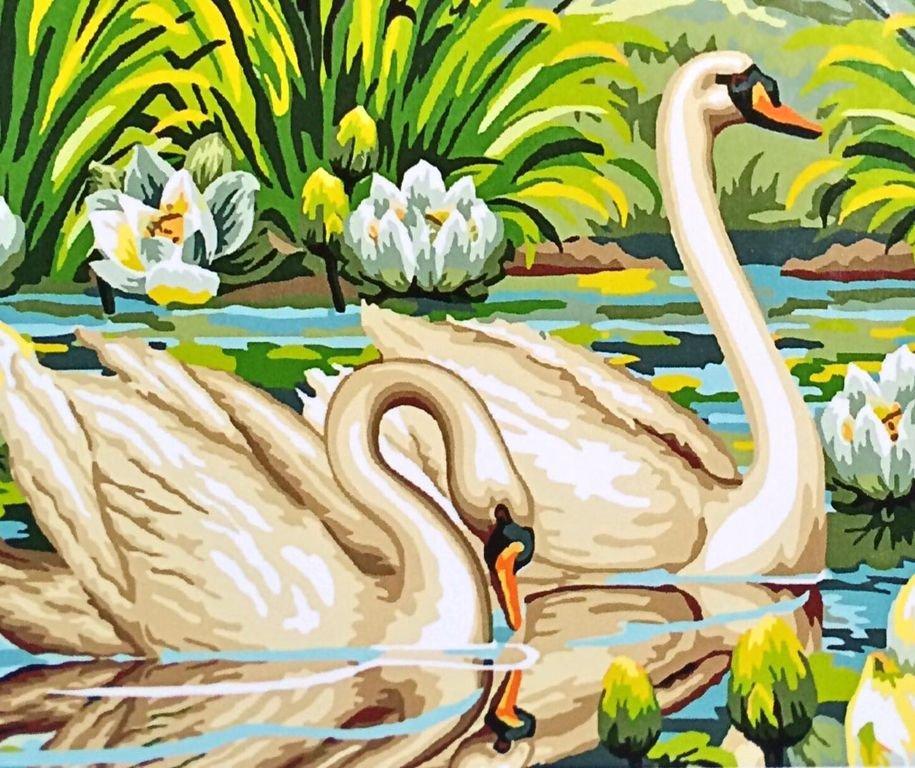 Картина по номерам Пара лебедей, 22 краскиКартины для раскрашивания по номерам на холсте - это набор, с помощью которого Вы сотворите настоящий шедевр как профессиональный художник. Изображение на холсте поделено по номерам на участки, каждый номер на картине соответствует определенному цвету. Вам предстоит аккуратно закрашивать такие зоны цветными красками (акриловые, масляные или акварель) либо карандашами, в зависимости от набора. В результате этого увлекательного занятия Вы получите настоящую картину на холсте, которую останется только вставить в раму и украсить ее любой интерьер (либо подарить друзьям).Состав набора: холст из натурального хлопка на деревянном подрамнике (холст предварительно прогрунтован), нейлоновые кисти разного размера 3 шт., акриловые краски (устойчивые к выцветанию), крепление на стену, акриловый лак (2 баночки).<br>