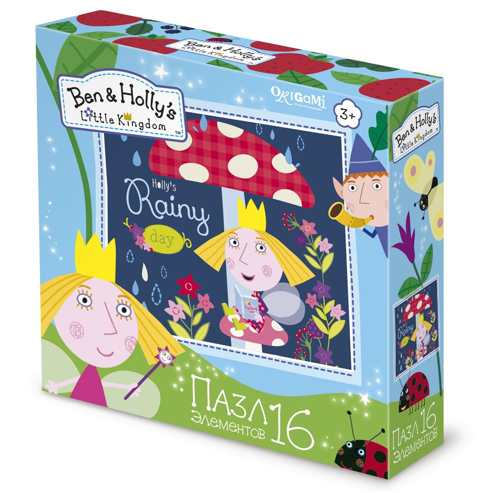 Ben &amp; Holly Пазл Летний дождикДетский пазл Летний дождик из серии Ban &amp; Hollys Little Kingdom от производителя Origami - это увлекательная головоломка для мальчиков и девочек. В наборе представлены 16 деталей пазла, которые вкупе образуют маленькое королевство героев. Такие игры отлично развлекают детей, а также помогают концентрировать внимание, развивать воображение и мелкую моторику рук.<br>