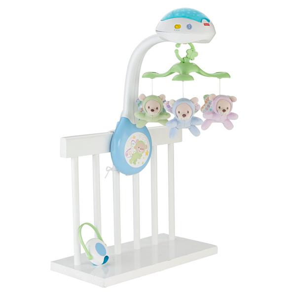 Мобиль Мечты о бабочках Товары для малышей (0-3)Замечательный мобиль-проектор от компании Fisher Price. Он надежно крепится на бортике кроватки при помощи удобного ремешка, включается и выключается тумблером. Мобиль оснащен звуковыми эффектами, есть 3 режима звука - воды, леса и приятные мелодии. Громкость регулируется. В процессе звучания музыки срабатывают и световые эффекты - переменно загораются три лампочки на проекторе. Ну и самое главное - медленно кружащиеся 3 плюшевые медвежонка, за которыми с удовольствием и любопытством будет наблюдать ваш малыш. Для удобства предусмотрен пульт дистанционного управления, с помощью которого вы сможете включать музыку и переключать мелодии.В темноте лампочки проектора светят на потолок, образуя очаровательные звездочки - в такой теплой и уютной атмосфере крохе будет приятнее засыпать и спокойнее просыпаться ночью.<br>