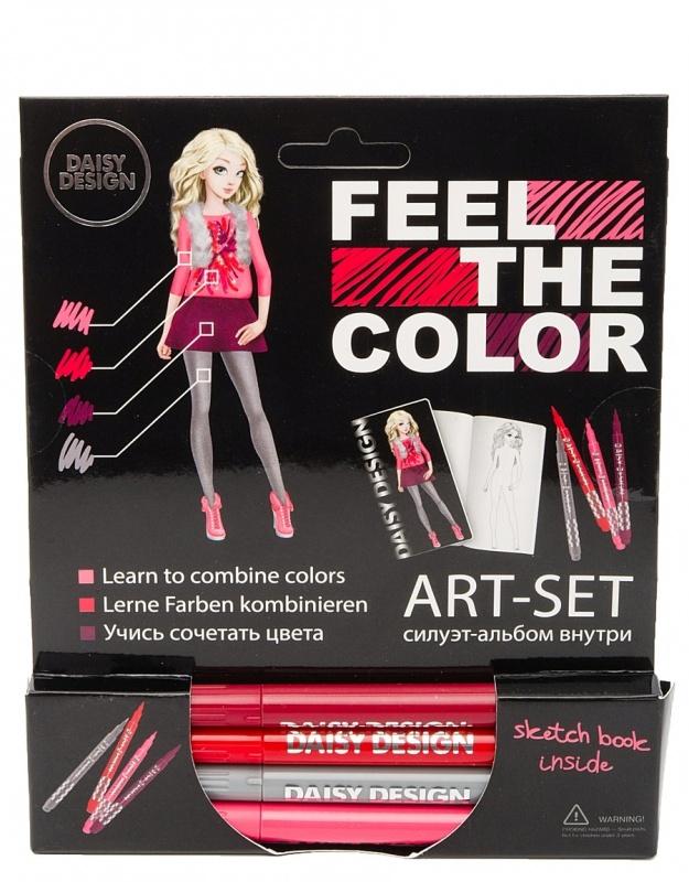 Арт-сет (фломастеры и силуэт-альбом)Набор для творчества из серии Feel the Color представляет собой альбом, на страницах которого есть черно-белые рисунки силуэтов. В комплект входят 4 фломастера, с помощью которых можно раскрасить картинки, создавая стильные образы, что позволит ребенку почувствовать себя настоящим модельером, заполняющим свое портфолио.<br>