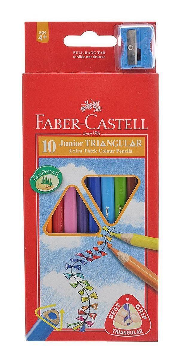 Цветные карандаши JUNIOR GRIP с точилкой, набор цветов, в картонной коробке, 10 шт.Цветные трехгранные карандаши Faber-Castell Junior Triangular Grip откроют юным художникам новые горизонты для творчества, а также помогут отлично развить мелкую моторику рук, цветовое восприятие, фантазию и воображение. Благодаря трехгранной форме они особенно удобны для детской руки. Корпус изготовлен из качественной мягкой древесины для хорошего затачивания. Карандаши покрыты лаком на водной основе для защиты окружающей среды. Специальная SV технология вклеивания грифеля предотвращает его поломку при падении на пол. Корпус карандашей окрашен под цвет грифеля. Комплект включает 10 карандашей ярких насыщенных цветов и точилку. Карандаши уже заточены, поэтому все, что нужно для рисования - это взять чистый лист бумаги, и можно начинать! Вид карандаша: цветной.<br>