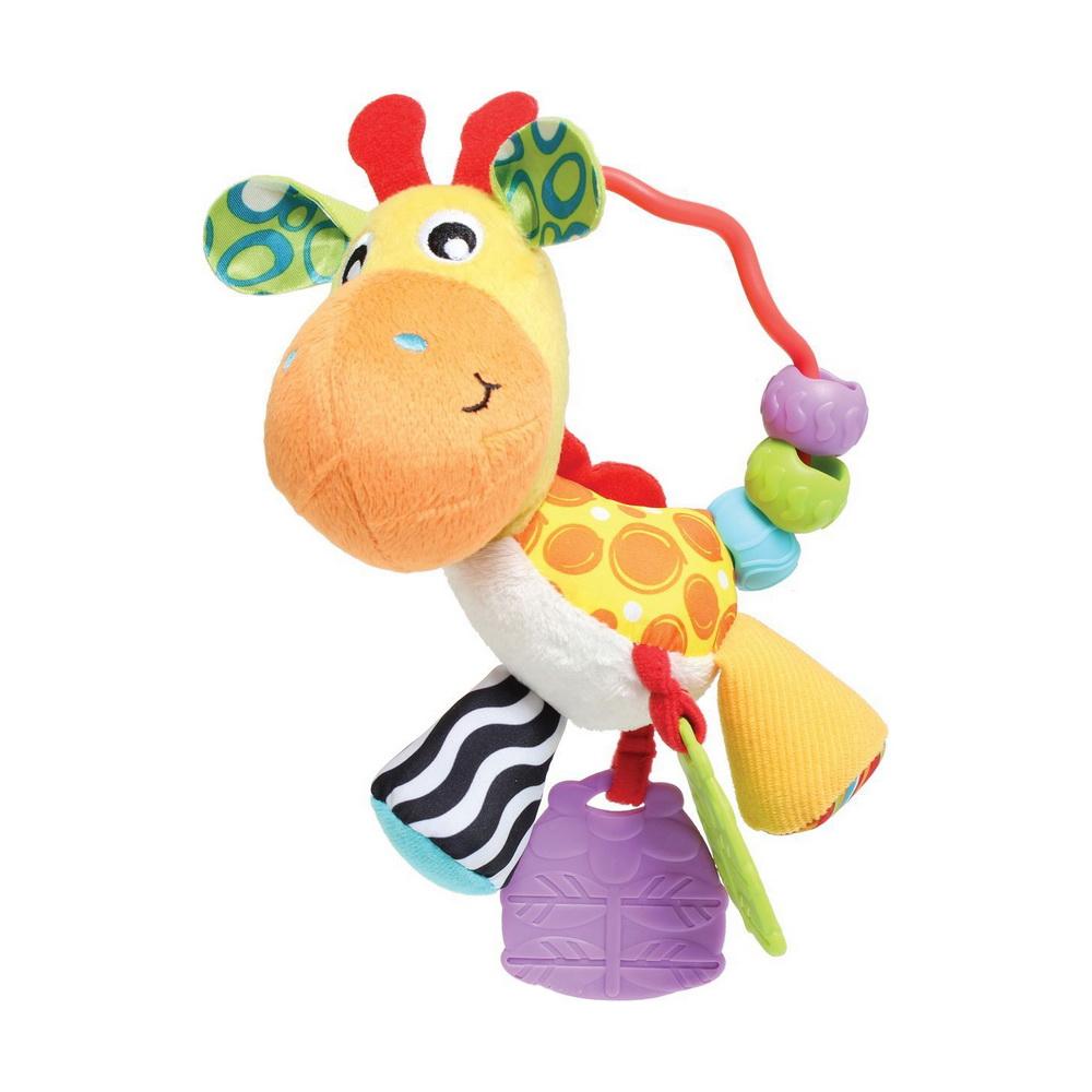 Playgro Погремушка «Жираф» 0186161Погремушка Playgro Жираф изготовлена из ярких и разных по фактуре тканей. Ушки гладкие с одной стороны и мягкие плюшевые с другой; 2 лапки изготовлены из пластика, имеют рифленую поверхность, их можно грызть; 2 другие лапки из мягкой ткани - одна желтая, ткань будто плюшевая, а другая контрастная черно-белая, шелковистая на ощупь. У жирафика есть ручка, за которую маленькому непоседе удобно держать игрушку, переносить с места на место; 3 разноцветные бусинки с рифленой поверхностью - их можно крутить, передвигать по ручке, а если потрясти, то они весело загремят. Способствует развитию визуального и сенсорного восприятия, моторики, тактильных ощущений, осознанию причинно-следственных связей.<br>