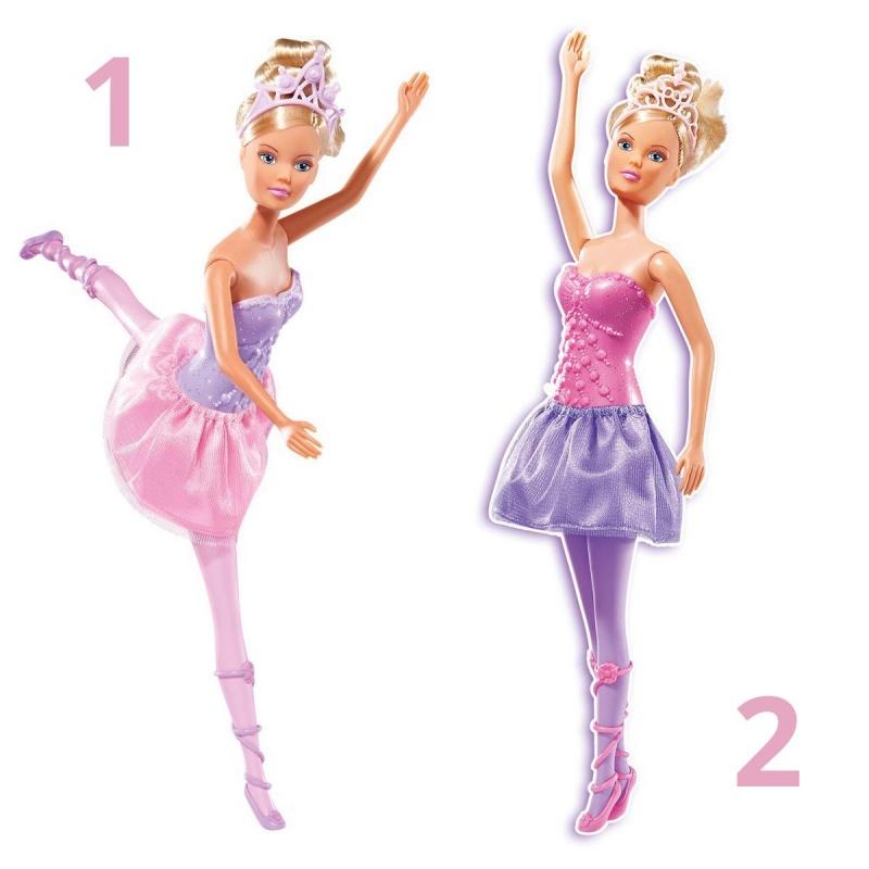 Кукла Штеффи - БалеринаИзящная и красивая Штеффи - это кукла от немецкой компании Simba, представленная в виде балерины. У Штеффи длинные светлые волосы, большие глаза и дружелюбная улыбка, которой она встретит свою новую подружку. Балерина одета в корсет и пышную юбочку-пачку, а на ногах у нее - пуанты. Волосы куклы можно расчесывать и укладывать в различные прически, а драгоценная диадема подчеркнет красоту Штеффи. Руки и ноги куклы двигаются, поэтому девочка сможет поставить ее в танцевальные позы и разыграть разнообразные сюжетные сценарии, связанные с балетом.Внимание! Кукла представлена в ассортименте, цена указана за 1 шт. Номер желаемой куклы указывайте в комментарии к заказу.Возраст: от 3 летДля девочекКомплектация: 1 кукла.Материалы: пластик, текстиль.Размер упаковки: 32.8 x 8.8 x 5.2 см.Высота куклы: 29 см.<br>