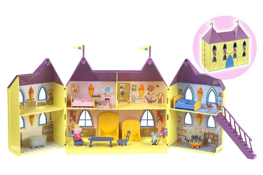 Игровой набор Замок ПеппыЭтот потрясающий дворец подходит в качестве жилья принцессе Пеппе! Замок раскрывается, наподобие шкафа, открывая большое игровое пространство. Здесь есть банкетный зал и множество других комнат, а также в набор входят мебель и аксессуары, такие как королевские троны, кровати, столы и стулья, кипящий котел с обедом и эксклюзивный стражник-мышь, охраняющий Пеппу и ее королевскую семью!<br>