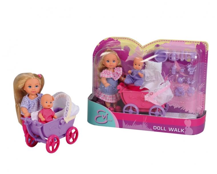 Кукла Еви с малышом на прогулке, 12 см.Ваша дочурка непременно придет в восторг от очаровательной куклы Еви и ее малыша! Еви со стильной коляской смотрится очень мило и привлекательно. На куколке модный костюмчик и удобная обувь. Одежда легко снимается. У куклы шикарные длинные волосы, которые можно расчесывать. Игрушка сделана из высококачественного пластика. У нее подвижные ручки и ножки. В коляске есть все необходимое, чтобы покормить или переодеть малыша, поиграть с ним. Благодаря своей компактности, Еви можно брать в дальнее путешествие! Она не займет много места, а расставаться с ней не захочется! Ваша дочка с удовольствием придумает много игр с таким великолепным набором. В игре будут развиваться творческие способности, фантазия, воображение и артистические навыки, а также внимательность, мелкая моторика и координация движения рук. Более того, забота о кукле воспитает в девочке все самые положительные качества!Внимание! Кукла представлена в ассортименте. Желаемый тип игрушки указывать в комментариях к заказу.<br>