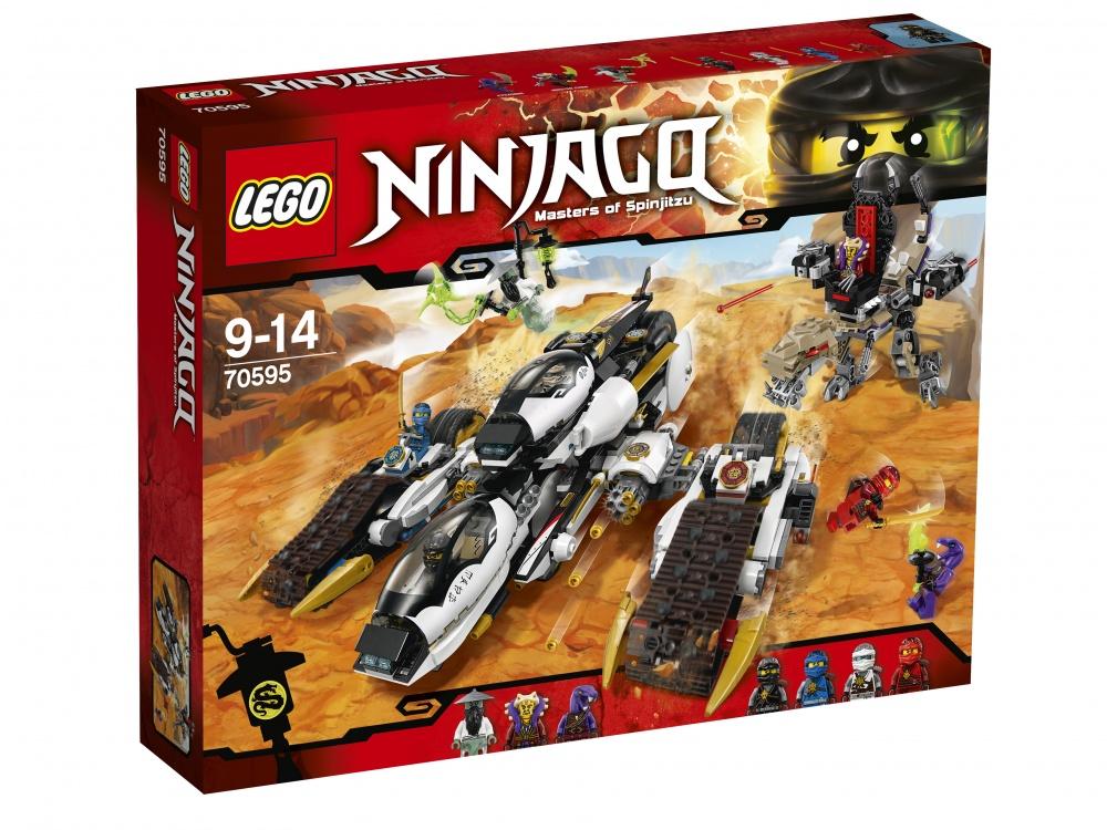 Конструктор Lego Ninjago Внедорожник с суперсистемой маскировкиСверхзвуковой внедорожник переделан во Внедорожник с суперсистемой маскировки и готов к сражению с Мастером Янгом, Мастером Ченом и Айзораем. Прыгай в кабину с героями ниндзя и спеши в бой. Уклоняйся от хватающих челюстей и пружинных шутеров Ченозавра. Отстреливайся из сдвоенных 6-зарядных скорострельных шутеров и двух пружинных шутеров удивительного танка, а затем раздели его на реактивный вертолёт, огромный байк и два спаренных байка, чтобы устроить засаду на противника. Выдвини золотое оружие ниндзя для сражений один на один и захвати Аэро-клинок Мастера Янга, чтобы одержать победу!<br>