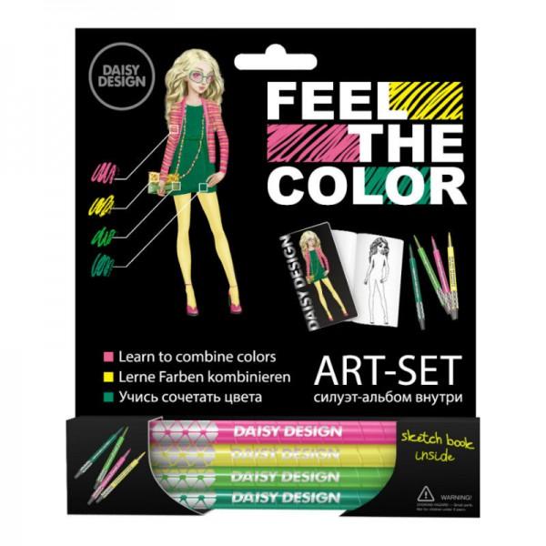 Набор Daisy Design (восковые карандаши и силуэт-альбом) Lotus of FEEL THE COLOR наборы для поделок daisy design набор для создания браслета цветовой памятки of feel the color