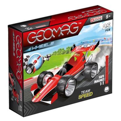 Купить со скидкой Магнитный конструктор Geomag с колесами, красный