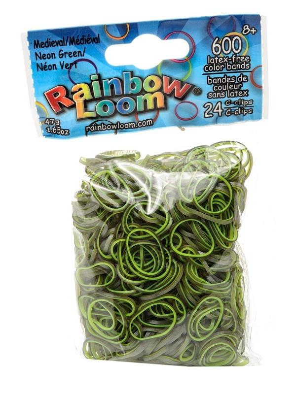 Резиночки - Неоновый зеленыйРезиночки для плетения браслетов, коллекция Средневековье, 24 с-клипсы, 600 резиночек<br>