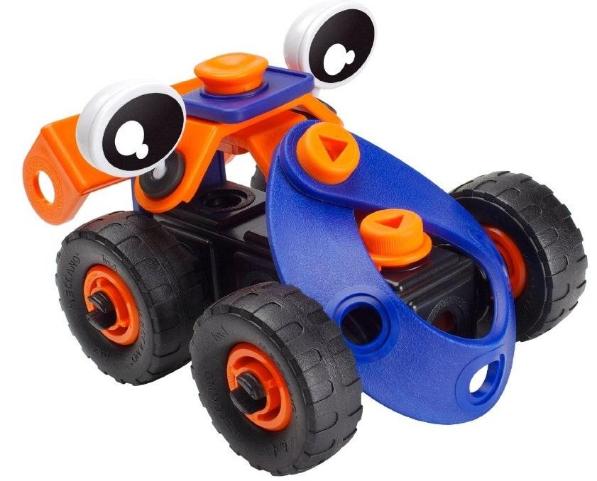 Набор Meccano Build &amp; Play Гоночная машинка 2 моделиИз деталей набора Meccano серии Build&amp;Play Vehicles можно построить 2 различных модели машинок, в ассортименте 3 вида наборов. В комплекте яркие гибкие детали, соединительные элементы, инструмент для сборки, наклейки и инструкция. Получаются весёлые яркие машинки с округлыми формами. Конструктор развивает мелкую моторику, воображение и техническое мышление.<br>