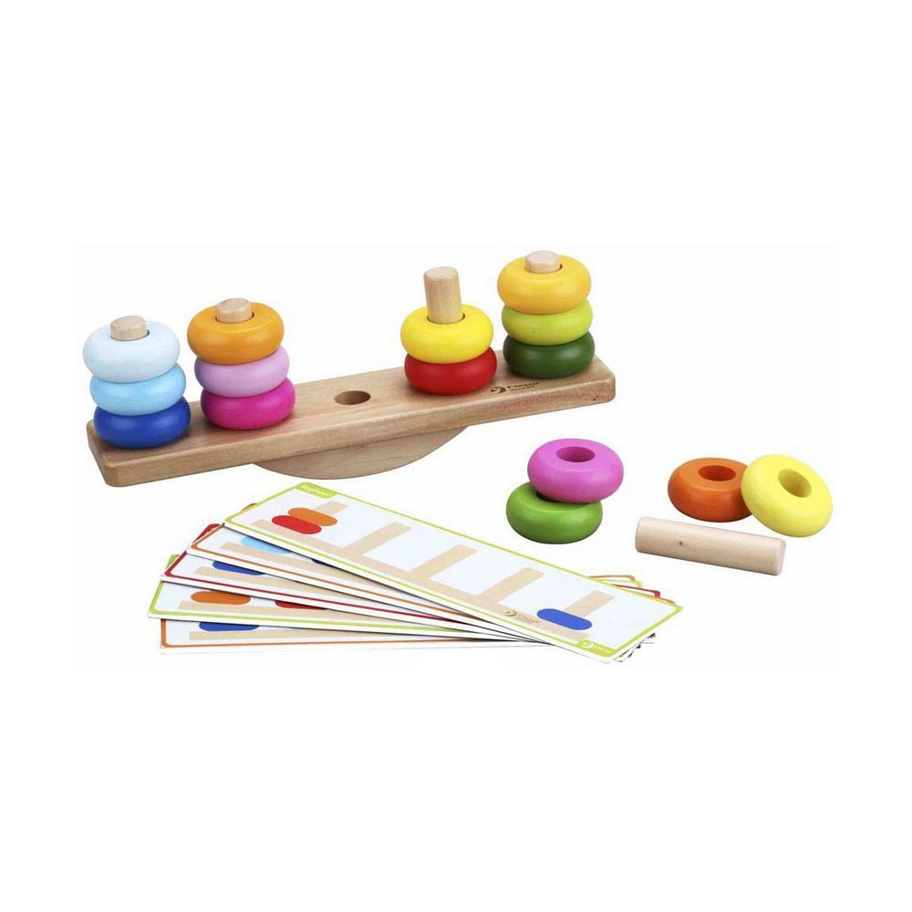 Развивающая деревянная игра с заданиями-карточками Балансирующая пирамидка.Развивающая игра Classic World Балансирующая пирамидка - это уникальная игра, которая научит вашего ребенка цветам, объемам и формам, а также он поймет логику благодаря функции баланса пирамидки. Игрушка выполнена из высококачественных материалов и окрашена безопасными детскими красками необычных нежных цветов. Уникальность игрушки заключается в двух игровых режимах: ребенок может выполнять задания на подбор цвета, размера колец для пирамидки по увлекательным карточкам или играть в свободном режиме - это более сложный вариант для детей постарше. Играй весело и увлекательно! Нанизывай яркие и сочные кольца на палочки так, чтобы основа-качели оставалась в равновесии.<br>