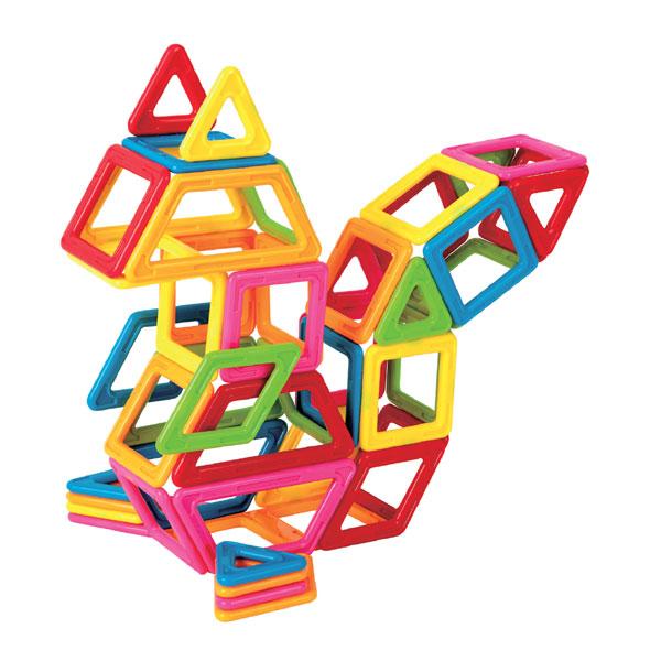 Магнитный конструктор Magformers My First Magformers, 54 деталиИдеальный конструктор для семьи с детьми, среди которых есть малыши возрастом до одного года! Данный набор абсолютно безопасен для детей самой младшей возрастной категории, что подтверждено сертификатами и присвоением особой категории 0+. Крупные детали, сделанные из особо прочного пластика, и отсутствие острых углов делают данный набор приемлемым для игры с детьми с самого рождения. «Magformers My First 54» будет интересен и детям постарше: ведь они смогут выполнять разнообразные задания, изучать цвета, создавать аппликации на плоскости и объемные фигуры. За счет достаточно большого количества деталей полет фантазии вашего ребенка сможет распространяться во всех направлениях. При этом все элементы набора, как всегда, совместимы с элементами любого другого набора Магформерс, что делает его универсальным в линейке магнитного конструктора. В набор входят, помимо самих деталей, сразу две дополнительные вещи: специальный альбом с заданиями и набор больших красочных карточек. На карточках вы найдете иллюстрации идей построек из деталей набора «Magformers My First 54», а альбом содержит в себе большое количество развивающих заданий, которые вы можете выполнять совместно с ребенком. Таким образом в наборе органично переплетаются игровая функция с обучающей составляющей. Детали выполнены из пластика ярких и чистых цветов. Сам набор упакован в красочную яркую коробку нового интересного дизайна и будет отличным подарком вашему ребенку на его первый, второй или третий день рождения!<br>
